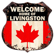 BPWC0766 Canada Flag Welcome Home of LIVINGSTON Family Name Sign Decor Gift