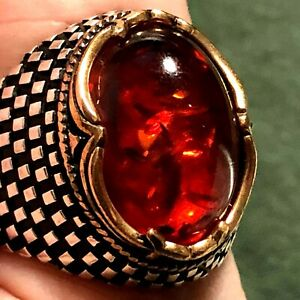 Men's Quality Amber Ring 2 Tone Blackened Sterling Silver Gold Large Size 10.5