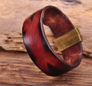 G169 Brown Manual Vintage Texture Real Leather Bracelet Wristband Mens Wide Cuff