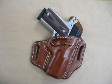 Colt 1991 Compact 1911 OWB Leather 2 Slot Molded Pancake Belt Holster CCW TAN RH