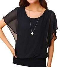 Women's Long Sleeve Chiffon Shirt Loose Tops Short Sleeve Blouse Plus Size S-5XL