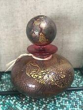 Isle of Wight Studio Glass Gold & Purple Iridescent Scent Bottle