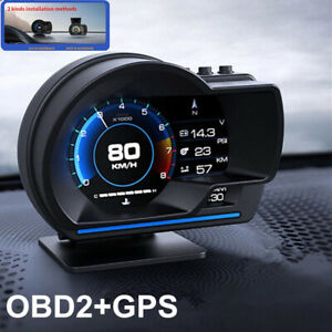 Multifunctional Digital Car HUD OBD2&GPS Speedometer Turbo Temp Gauge Fault Code