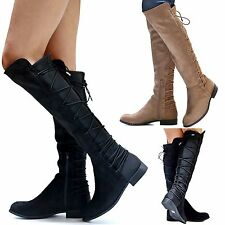 New Women WOk Black Taupe Stretchy Lace Up Knee High Riding Boot size 6 to 10