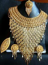 22k Gold Plated South Indian Traditional wedding Necklace Earrings Fashion Set1