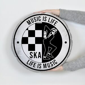 Music Is Life - SKA - Round Cushion - Two Sizes Available