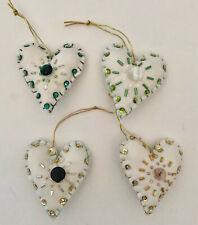 SET OF 4 Handmade Heart Valentine Ornament Beaded Repurposed Quilt green & gold