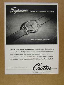 1944 Croton AQUAMEDICO Gold Watch vintage print Ad