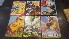 6 COMPLETE 1951 Saalfield Pre School  Puzzles Cat Chick Horse Dog Lamb Panda Set