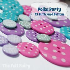 Polka Party Mix - Patterned Button Collection - 27 Buttons Spotty Gingham Bright