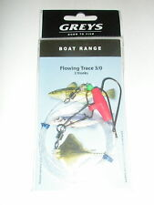 Greys 5 x Boat sea rigs Flowing trace 3/0 2 hooks Fishing tackle