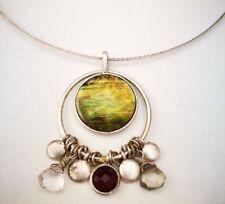 Colourful stone gem pendant necklace on silver colour chain