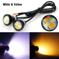 2X 4LED White Amber Eagle Eye Light Daytime Running DRL with Turn Signal Lamp