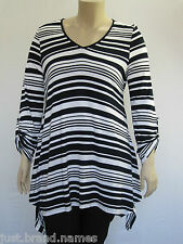 Autograph Ladies 3/4 Sleeve Stripe Tunic Top Sizes 14 16 18 20 Colour Ink 24