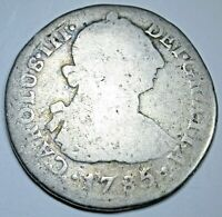 1785 Spanish Peru Silver 2 Reales Genuine Antique 1700's Colonial Two Bits Coin