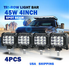 "4X 4"" 45W CREE LED Work Light Bar SPOT Tri-Row Offroad 4WD ATV PICKUP MINI SUV"
