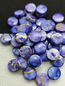 50 Cornflower Blue Coin, Flat Round Drawbench Beads 9x3.5mm (PHDB 02)
