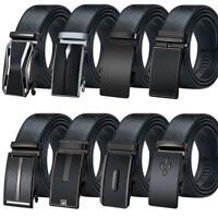 Black Formal Mens Belts Real Leather Straps Automatic Buckles Ratchet Pants Belt