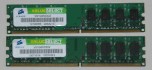 2 x 1GB Corsair DDR2 Value Select RAM PC2-4200U 533MHz VS1GB533D2 Memory