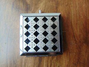 Elegant Square Double **COMPACT MIRROR** Handbag Enamel Diamante Silver Classy