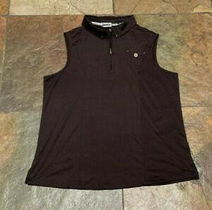 0621 JAMIE SADOCK Large Black Partial Front Zipper Sleeveless Golf Top B