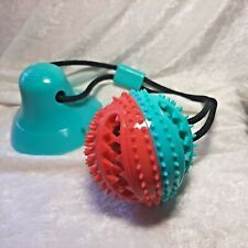 Rope Dispensing Ball with Suction Cup Pet Squeaky Toy Dog Toothbrush New