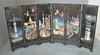 DESK TOP MINIATURE 6 PANEL REVERSIBLE ORIENTAL LACQUERED SCREEN SHANGHAI NIGHTS