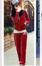 Womens Ladies Hooded Velour Tracksuit Jogging Yoga Sport Gym Suits slim casual