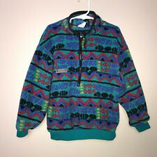 Columbia Youth Small 1/4 Zip Pullover Fleece Jacket Teal Green Print Vintage 90s