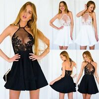 Sexy Women Summer Casual Sleeveless Party Evening Cocktail Lace Short Mini Dress
