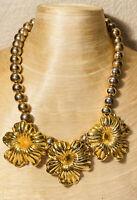 VTG Collar Metal Ball Necklace 1950s Massive Statement Flower Choker Gold