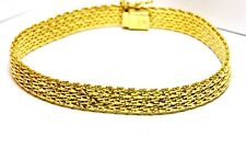 """vermeil 925 sterling silver beaded mesh bracelet 8"""" 9mm ITALY box clasp 21.22g"""