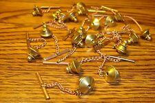 #20 Twenty Brass Tie Backs W/Copper Safety Chain Replacement Jewelry Findings