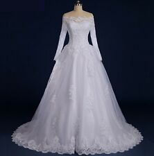 New White Wedding Dress Lace Off the shoulder Bridal Gown Size 4 - 24 Custom UK