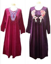 Pack of  2 Ladies' knitted  Velvet multi  colour embroidery floral long kaftan M
