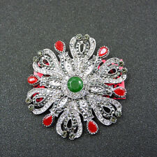 Johnson Charm Brooch Pin Gift Woman's Green Crystal Jewelry Flower Betsey