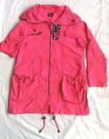 Ladies Long Jacket Lightweight Coat Pink Fashion Parka Size 10 UK TG Cotton Rich