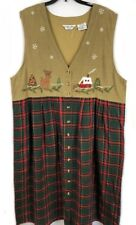 Victoria Jones Christmas holiday embroidered appliqué button jumper dress 2X