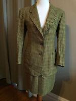Women's Loro Piana Brown & Green Houndstooth 100% Cashmere Jacket & Skirt Set XS