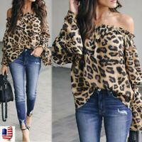 Women Casual Leopard Printed Long Sleeve Cold Off Shoulder Blouse Shirt Top