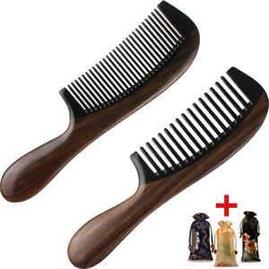 Premium Hair Comb Wood Combs Horn & Ebonywood Handcrafted Smooth Care No Static