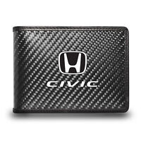 Honda Civic Black Real Carbon Fiber Leather RFID Blocking Bi-fold Wallet