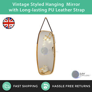 Vintage Styled Hanging Mirror with Adjustable Long-lasting PU Leather Strap
