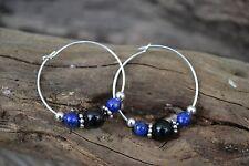 Handmade earrings with Sterling Silver, Lapis Lazuli & Black Onyx.