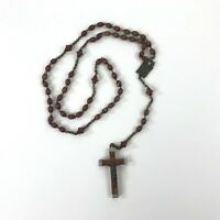 "Vintage Lourdes Wood Beaded Rosary Necklace 17"" Long Catholic Made in France"