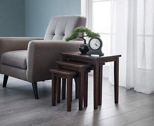 Rustic Nest Tables Vintage Room Furniture Side End Table Set 3 Solid Wood