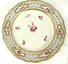 ANTIQUE PORCELAIN DESSERT PLATE PAINTED WITH ROSES CHELSEA DERBY b