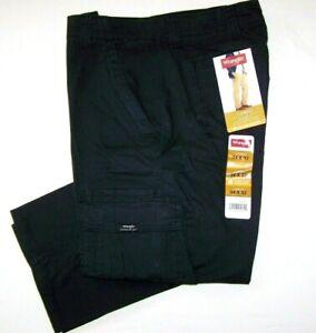 Men's Wrangler FLEX Cargo Pants Relaxed Fit Black Tech Pocket ALL SIZES 32 - 54