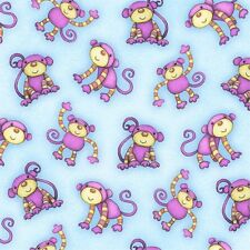 """Henry Glass Two by Two Monkey Toss Blue 100% cotton 44"""" fabric x yard"""