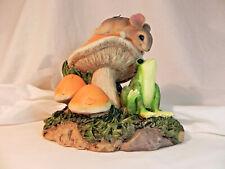 Orange Mushroom Frog Ornament Toy Terrarium Animal Decor Desk Accessories